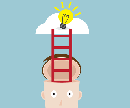 immagination: ladder from human head to bulb idea on cloud, vector illustration
