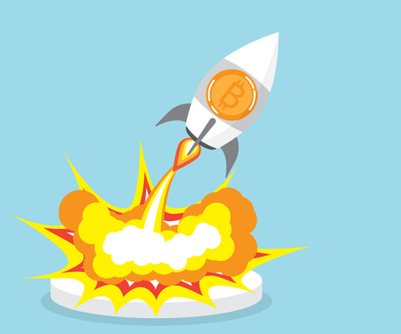 business graphics: bitcoin rocket launcher, cryptocurrency concept vector illustration