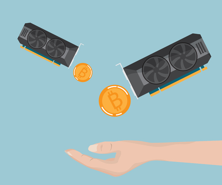 vga: hand receive bitcoin, ethereum from display card, cryptocurrency concept vector illustration Vectores