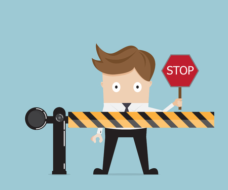 businessman standing at road barrier and holding stop sign vector illustration