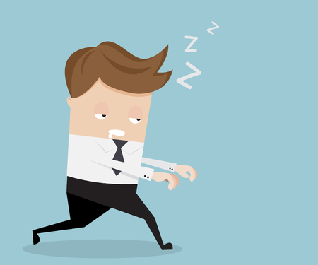 A businessman sleepwalking cartoon vector illustration Illustration