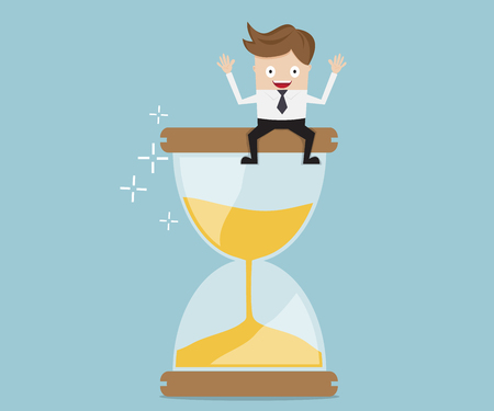 Un homme d'affaires assis sur le sablier, illustration de vecteur de gestion de temps entreprise concept de dessin animé