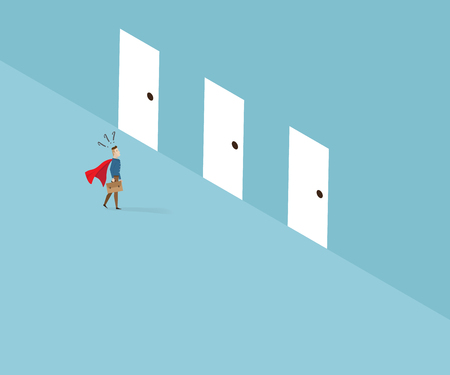 businessman with red cape standing and confused to select doors business leader concept cartoon vector  sc 1 st  123RF.com & Businessman With Red Cape Standing And Confused To Select Doors ...