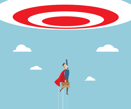 businessman in red cape with breafcase in hand flying to target, business success concept cartoon vector illustration Illustration