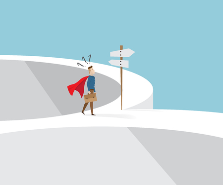 businessman in red cape and briefcase in hand standing confused at cross roads and road sign, business concept cartoon vector illustration