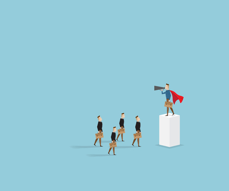 super man: businessman in red cape standing on pillar with megaphone, business concept cartoon vector illustration