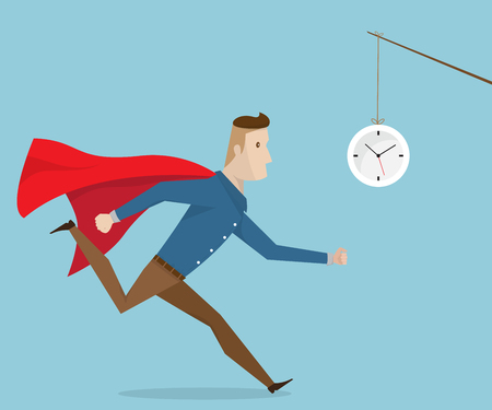 businessman with red cape running follow clock cartoon vector illustration