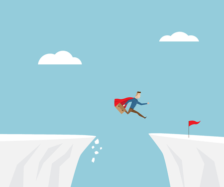 businessman in red cape jumping to success with red flag at cliff, business concept cartoon vector illustration