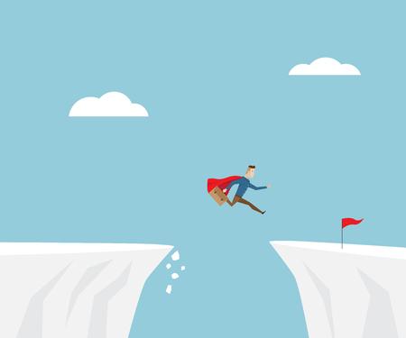 zakenman in rode kaap springen naar succes met rode vlag bij klif, business concept cartoon vector illustratie Stock Illustratie