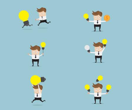 set of businessman with bulb idea cartoon vector illustration