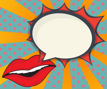 abstract woman lips with speech bubble comic book, pop art background vector illustration