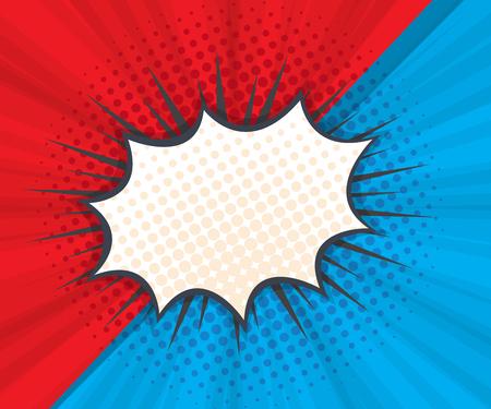 abstracte tekstballon met rode en blauwe achtergrond popart, stripboek vectorillustratie Vector Illustratie