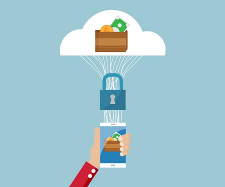 e-wallet, e-business security concept vector illustration