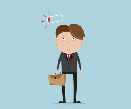 tried: businessman tried and low battery cartoon vector illustration