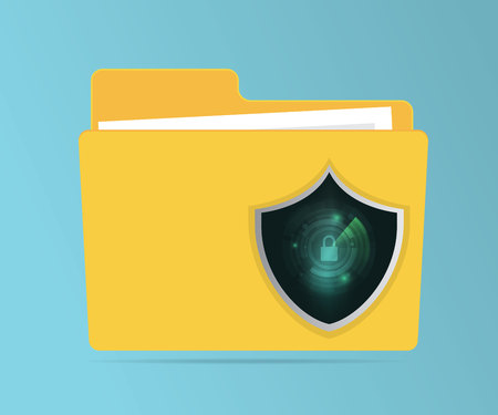 abstract network security concept folder protection with technology shield guard vector illustration
