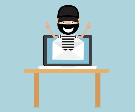stealing data: thief from email with laptop, network security concept cartoon vector illustration