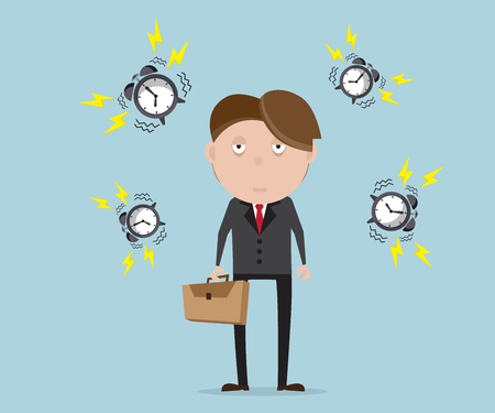sad businessman: businessman tried with alarm clock cartoon vector illustration
