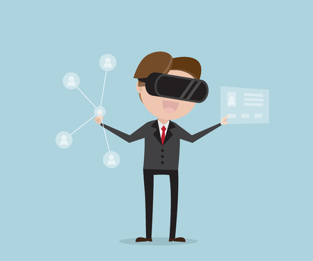 businessman finding people with virtual reality cartoon vector illustration