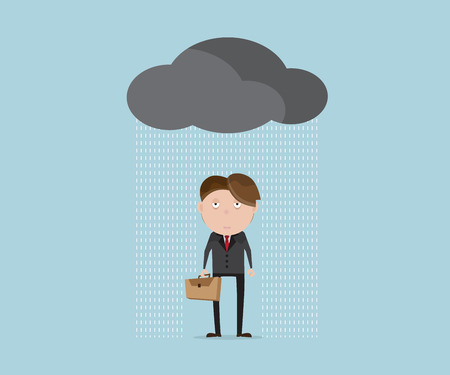 loser: businessman wet and tried in rainy day cartoon vector illustration