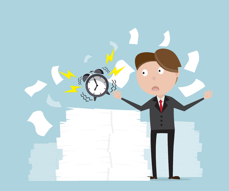 Businessman with alarm clock and a lot of document, business concept cartoon vector illustration Illustration