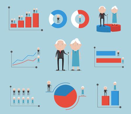 Bejaarden met geslachtsgrafiek vectorillustratie als achtergrond. Vector Illustratie