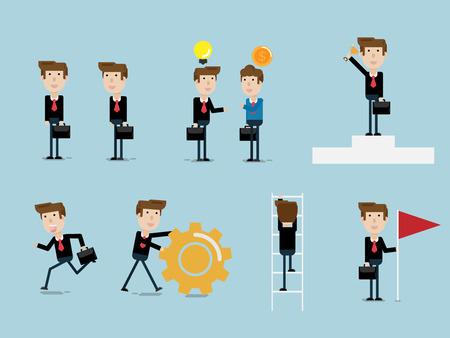 set of businessman flat design cartoon vector illustration