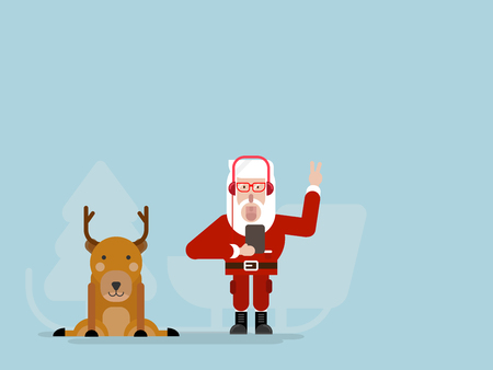 santa claus listening music with deer flat design cartoon vector illustration