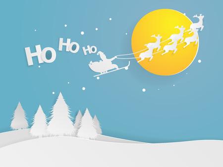 クリスマスの夜紙アート ベクトルの空に飛ぶサンタ クロースのイラスト 写真素材 - 89059883