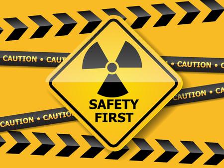 Illustration of radiation warning sign on yellow wall vector background 일러스트