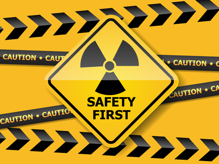 Illustration of radiation warning sign on yellow wall vector background Vettoriali