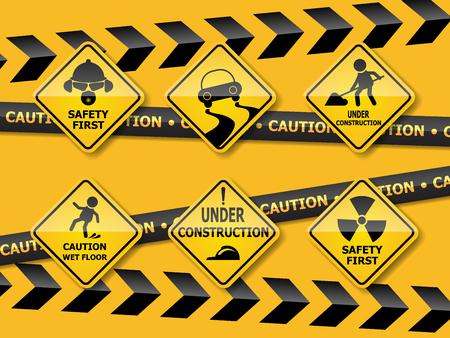set of warning caution sign on yellow backgroun vector illustration Illustration