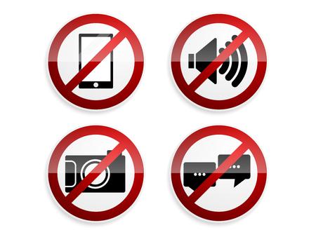 白い背景のベクトル図の設定禁止標識