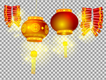illustration of chinese lanterns and firecrackers on transparent background happy chinese new year concept vector Vectores
