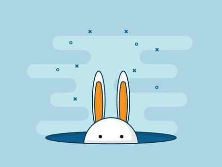 Illustratie van konijn of konijntje in gat. Platte ontwerp vector