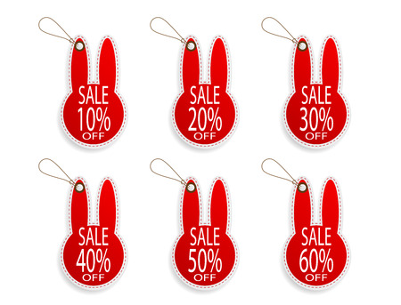 set of price discount sale tag label in rabbit shape background vector illustration