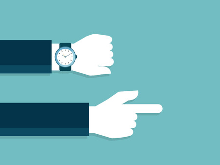 Illustration of hand and watch with late time pointing to go work Imagens - 97101570