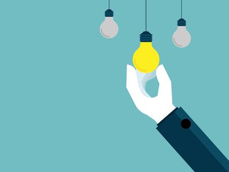 illustration of hand pick up bulb idea