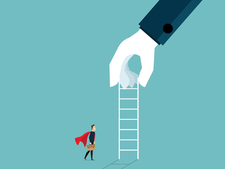 illustration of big hand giving ladder to businessman for help business concept