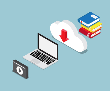 Online education concept with books and laptop illustration Illustration