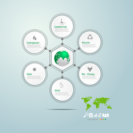 circle infographics of green energy in the world vector illustration