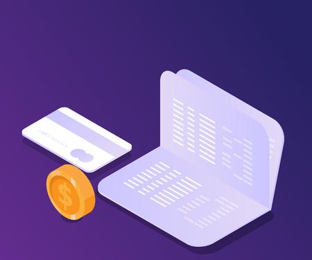 Ilustración de libreta con tarjeta de crédito y moneda de dinero isométrica vectorial