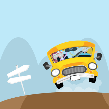 illustration of people on bus go to travel in holiday cartoon vector