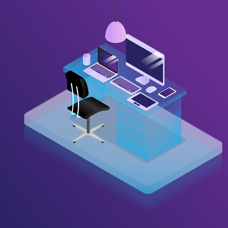 illustration of work place in office desk with office supplies vector isometric