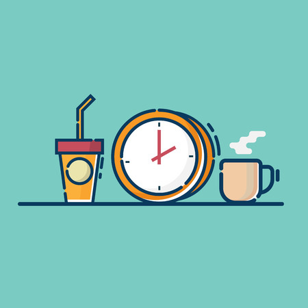 illustration of coffee time vector flat design