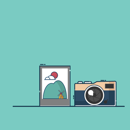 illustration of retro camera with picture vector flat design