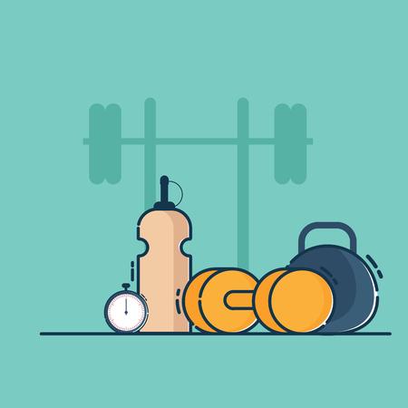 illustration of fitness for life vector flat design