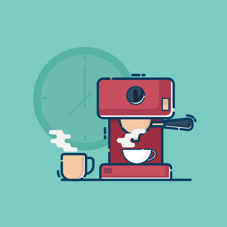 illustration of coffee machine with hot coffee cup vector flat design 向量圖像