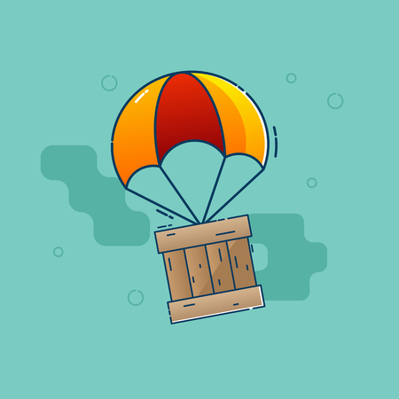 illustration of delivery concept parachute flying with wooden box vector flat design