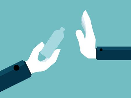 illustration of hand say no to plastic bottle vector background Illustration