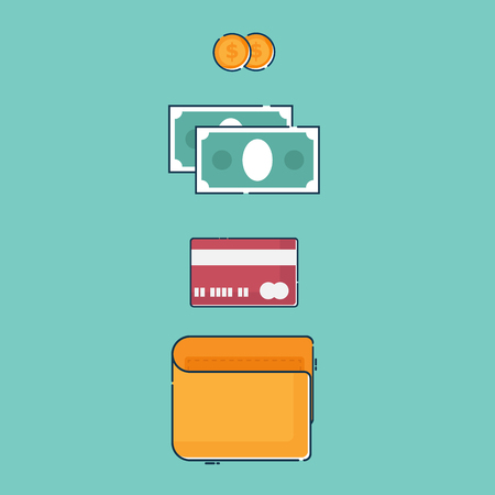 illustration of wallet with money and creditcard vector flat design